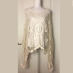 Betsey Johnson Crochet Floral Batwing Tunic Top